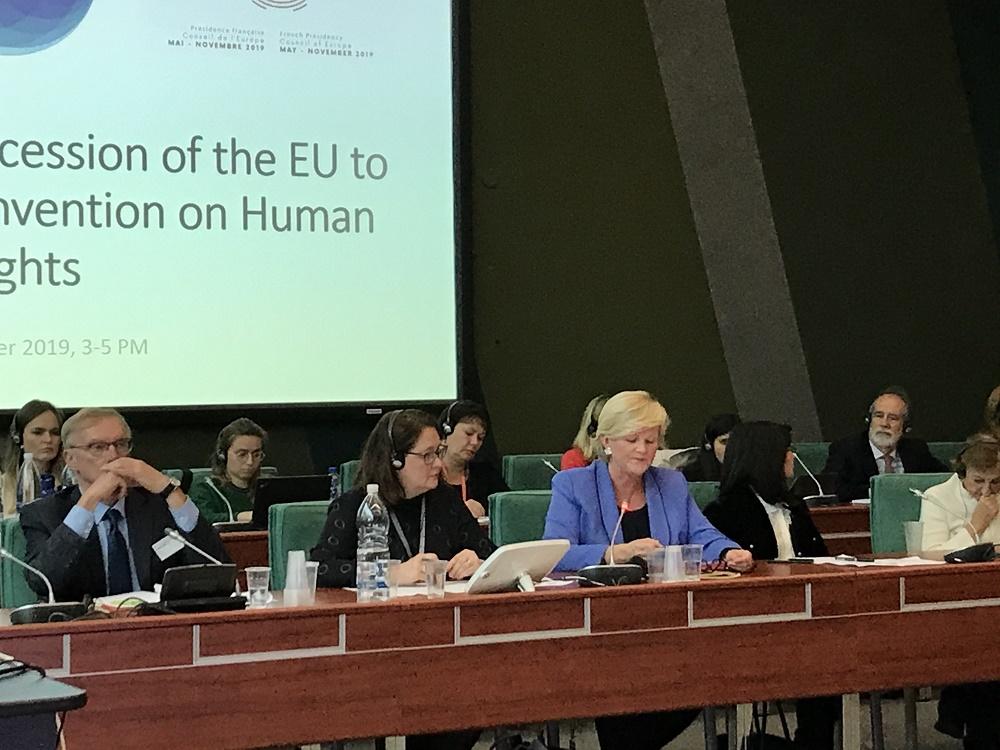 """Suomen pysyvä edustusto Euroopan neuvostossa järjesti marraskuussa seminaarin EU:n liittymisestä ihmisoikeussopimukseen yhdessä EU-delegaation ja Ranskan kanssa. """"Liittyminen tulisi selkeästi vahvistamaan myös sääntöpohjaista kansainvälistä järjestelmää ja luottamusta EU-instituutioihin"""", painotti seminaarin avannut suurlähettiläs Nina Nordström (oik)."""