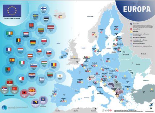 Bilden visar en karta över Europa