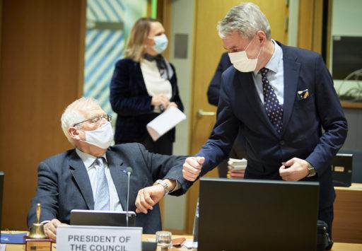 Kuvassa EU:n korkea edustaja Josep Borrell ja Suomen Ulkoministeri Pekka Haavisto